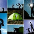 Family camping collage — Stok fotoğraf
