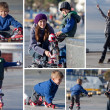 Happy mother and son going rollerblading outdoors collage — ストック写真