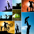 Family camping collage — Stockfoto
