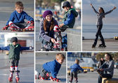 Happy mother and son going rollerblading outdoors collage — Stock Photo