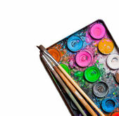 Used water-color paint-box and paint brushes — Stock Photo