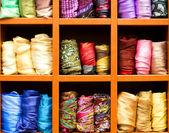 Scarfs, fabric background — Stock Photo
