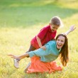 Mother and Son Having Fun.backlit — Stock Photo