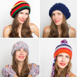 Happy young girl in different winter knitted caps  — Stock Photo