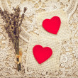 Greeting card to St. Valentine's day with hearts — Stok fotoğraf