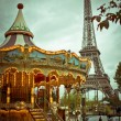 Stock Photo: Eiffel Tower and vintage carousel, Paris, France