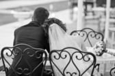 Romantic couple in live sitting in a cafe — Stock Photo