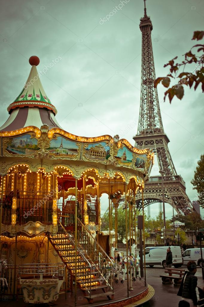 Eiffel Tower and vintage carousel, Paris, France – Stock ...