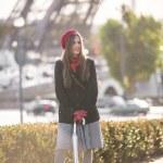 Fashion woman in romantic city. French fashion — Stock Photo #38951961