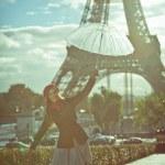 Fashion woman in romantic city. French fashion — Stock Photo #38951973