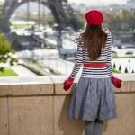 Eiffel tower Paris tourist woman — Stock Photo #38951981