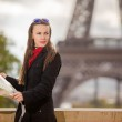 Travel Paris Eiffel Tower woman happy tourist with map — Stock Photo #38952953