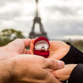 Holding hands. Young couple in love in Paris — Stock Photo