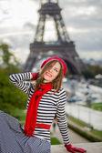 žena paris eiffel věž — Stock fotografie