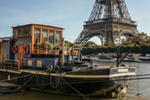 Eiffel tower and Seine — Stock Photo