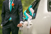 Wedding details in blue colors — Stock Photo
