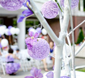 Purple wedding decotation — Stock Photo