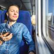 Young woman traveling by train — Stock Photo #39358339