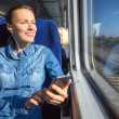Young woman traveling by train — Stock Photo #39358401