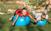 Summer outdoor family sport activities — Stock Photo