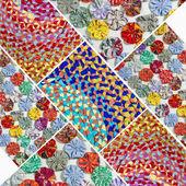 Handmade fabric collage — Stock Photo