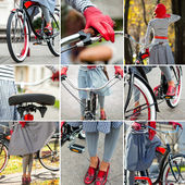 Young woman riding a bike collage — Stock Photo