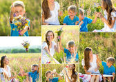 Mother with son having fun outdoors in summer — Stock Photo