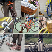 Retro bike collage — Stock Photo