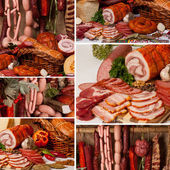 Meat Delicacies collage — Stock Photo