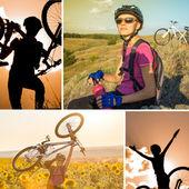 Young woman biking — Foto de Stock
