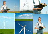 Engineers and wind turbine site — Stock Photo
