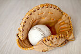 Baseball in glove — Stock Photo