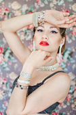 Beautiful woman in bracelets — Stock fotografie
