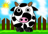 Cow in a meadow — Stock Vector