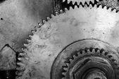 černé a bílé staré gear — Stock fotografie