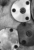 Locked plate onthe old lathe machine — Stock Photo