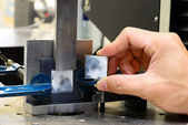Close up shear stress specimen after test on testing machine — Stock Photo
