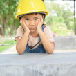 Anxious mood of kid engineer — Stock Photo #49336433