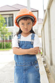 Little engineer thinking — Stock Photo
