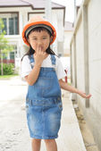 Little engineer walking — Stock Photo