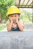 Anxious mood of kid engineer — Stock Photo