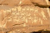 Hunter's Panel - Indian Petroglyph located in Nine Mile Canyon i — Stock Photo