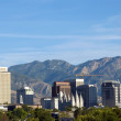 Skyline of Salt Lake City, Utah framed by the Wasatch Mountains — Stock Photo #26630725