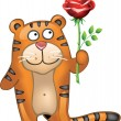Stock Vector: Tiger with rose