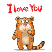 Tiger I love you — Stock Vector