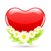 Love heart with flowers — Stock Vector