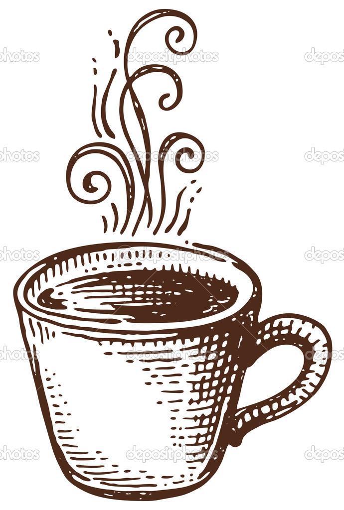 рисунок кофейной чашки черно белый
