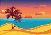 Tropical beach sunset — Vettoriale Stock