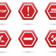Red Road Sign Set — Stock Vector