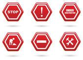красная дорога знак набор — Cтоковый вектор